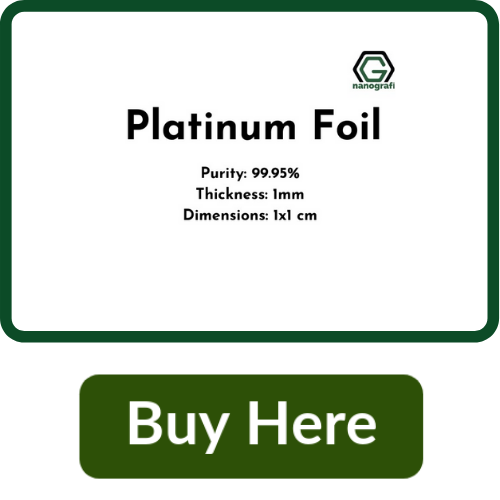 Platinum Foil, Purity 99.95%, Thickness: 1 mm, 1x1 cm